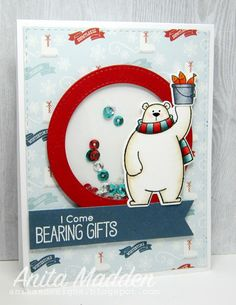 Just A Pigment Of My Imagination | I Come Bearing Gifts | MFT Polar Bear Pals. I colored bear & his bucket of fish with copics then diecut with coordinating Die-namics. I used Your Next Stamp's Stitched Rectangle Dies to cut pattern paper. I used MFT's Die-namics Stitched Circle Frames to create a shaker card window & added sequins. I stamped  sentiment onto a banner cut using Die-namics Fishtail Flags Layers STAX & heat embossed sentiment. I used a black glaze pen on the bear's eyes & nose.