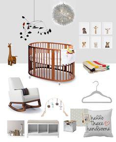 Cloud Grey Nursery Inspiration Board - Stokke Sleepi System, Monte Joya Rocker, Couture Closets Nursery Hangers, Alexander Calder Mobile, Hudson's Bay Blanket and more!
