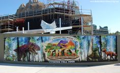 """Construction photo for T-Rex at Downtown Disney at Disney World. --- Get free and helpful Disney World """"How To"""" vacation planning guides, a list of 45 great Disney World freebies, and Step-by-Step advice to help make your next Disney vacation your best Disney vacation ever!  See: http://www.buildabettermousetrip.com/disney-freebies/  #Disney #Disneyworld #WDW  #DTD"""