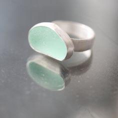 Sea Glass & Sterling Silver Ring Light Aqua