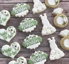 Congrats to the bride to be! Cookie Icing, Royal Icing Cookies, Cake Cookies, Sugar Cookies, Wedding Shower Cupcakes, Wedding Cookies, Wedding Desserts, Bridesmaid Cookies, Anniversary Cookies