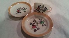 Vintage 1930's Rabbit Mickey Mouse Child's Tea Set Cup Saucer Plate Lusterware | eBay