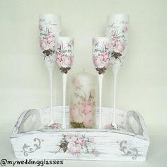 Set for the wedding in vintage style: glasses, candlesticks, candles and tray... www.facebook.com/ myweddingglasses