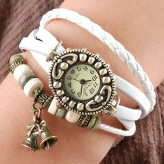 Handmade Vintage Quartz Weave Around Leather Bracelet Lady Woman Girl Wrist Watch With Bell Charm White