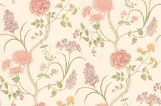 Summer Tree (DAPGST101) - Sanderson Wallpapers - A flamboyant floral trail, with a variety of flowers growing from the same branches: Chrysanthemums, peonies and honeysuckle. Available in 5 colourways – shown in naturalistic pinks, peaches and purples. Please ask for sample for true colour match.