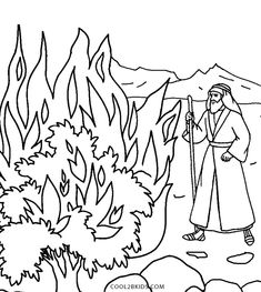 Moses Burning Bush Coloring Sheet Another Picture And Gallery About The Pages Printable Page Of Burnin