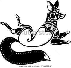 running twisted a fox in style of Scythian tattoos - stock vector