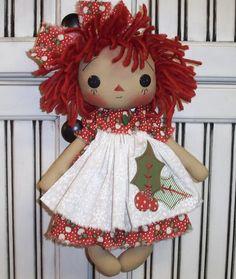 Primitive Folk Art Doll Raggedy Ann Rag Doll Tag Holiday Christmas Annie | eBay