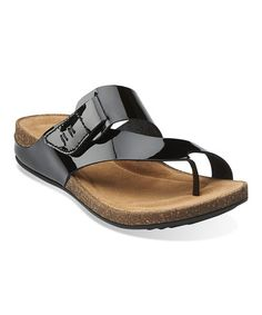 9e744c41b205f0 Another great find on  zulily! Black Patent Perri Coast Leather Sandal by  Clarks