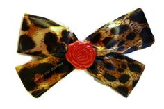 Big Leopard Hair Bow - Satin, Red Rose, Womens -  Rocker Chic, Rockabilly, Glam, Pin Up Girl Bow, Rocker Style, Large via Etsy