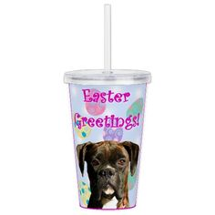"Easter greetings Brind Acrylic Double-wall Tumbler  Holds 20 ounces of your favorite beverage. BPA and toxin-free 6"" height, 4"" diameter  #easter #boxer #dog #gifts #boxers #tumbler #beverage"