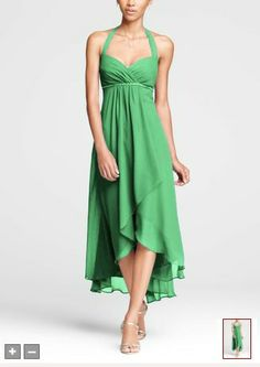 Crinkle Chiffon High Low Halter Dress Style  - kelly green (brides maids)