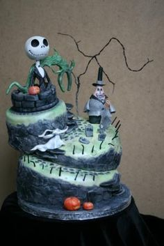 Nightmare Before Christmas topsy turvy birthday cake