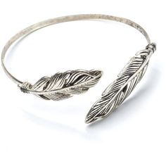 Fly Fly Away Feather Charm Cuff found on Polyvore featuring jewelry, bracelets, rings, cuff bangle, cuff charm bracelet, bracelet charms, feather cuff bracelet and cuff jewelry
