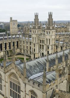 Elevated city view from University Church of St. Mary The Virgin, High Street, Oxford, United Kingdom
