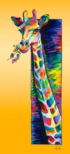 "Saatchi Art Artist Linzi Lynn; Painting, ""Giraffe Eating limited edition #2 of 50"" #art"