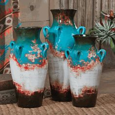 """Santa Fe Teal Pottery Vases (Set of 3) - A Lone Star Western Decor Exclusive - The hand-thrown clay Santa Fe Teal Pottery Vases are hand-painted in shades of teal, red and cream with an aged look for a unique southwestern accent. Set of three includes: Small: 11""""Dia. x 16""""H; Medium: 12""""Dia. x 19""""H; Large: 13""""Dia. x 22""""H. ~ Allow 6 weeks."""