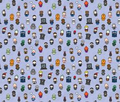 Doctors, Monsters, and Friends fabric by studiofibonacci on Spoonflower - custom fabric