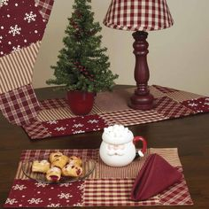 The Patchwork Christmas Table Runner, Placemat, and Christmas Stocking available @ CountryPorchHomeDecor.com