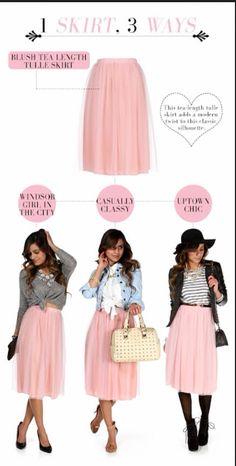 Blush tea length tulle skirt