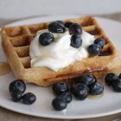 Whole Grain Waffles with Blueberries and Yogurt Recipe