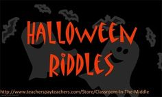 Halloween Riddles - five riddles in an interactive Smartboard activity - FREE