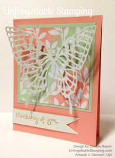"Unfrogettable Stamping | Quick & Easy butterfly thinking of you card featuring the Sale-a-Bration ""Irresistably Yours"" specialty designer paper"