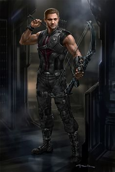 """Clint Barton / """"Hawkeye"""" concept character design for """"Marvel's the Avengers"""" by Andy Park"""