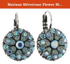 Mariana Silvertone Flower Blossom Crystal Earrings, Aqua Pacific Blue 1029 26770. About Mariana Jewelry: Mariana believes what music is to the ear, color is to the eye. Her exquisite creations make the woman who wears them glow with confidence and love for life. Since 1997, her exuberant sense of color and unexpected fusion of old and new, crystal and stone, material and spirit, have been the very heart and soul of her creative vision. Mariana jewelry is made with components as varied as…
