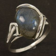 Natural LABRADORITE Gemstone 925 Sterling Silver Ring Size US 8.75 Manufacturer #Unbranded