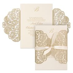 A gold shimmer wrap with a laser-cut rose pattern encloses your invitation. Guests will love the intricate detail and won't be able to wait for your wedding!