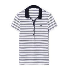 Polo à rayures en coton stretch - Bigarreau/blanc | LACOSTE