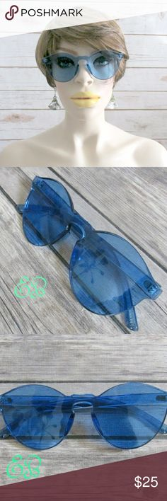 """""""Blue World"""" Blue Acetate Rimless Sunglasses Condition: NWT  Brand: Citizen Republk Type: Sunglasses  Style: Round Cateye Features: Monolens Style Frames: Frameless Protection: UV400  DD0.5:201711091423:5:12C Citizen Republk Accessories Sunglasses"""