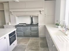 Grey Aga in white kitchen