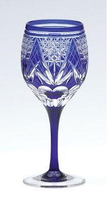 Sklenička na víno * kobalt, broušené sklo křišťál * Bohemia.
