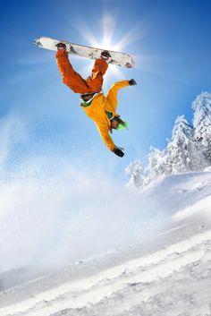 Snowboarder in mid air #snowboard
