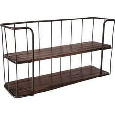 Brown Wood & Metal Double Shelf