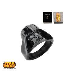 Stainless Steel IP Black Star Wars 3D Darth Vader #Ring. Available Sizes: 6 - 15   #jewelry #StarWars #Disney #darthvader #darkside