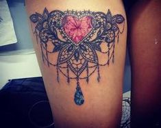 Lace diamond heart tattoo
