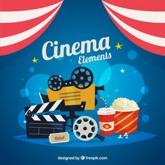 Film elements with popcorn  Premium Vector