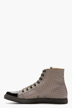 MARC JACOBS Brown Jacquard Patent Cap Sneakers