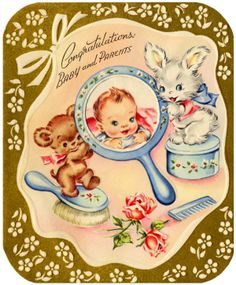 Vintage greeting card welcoming a new baby.