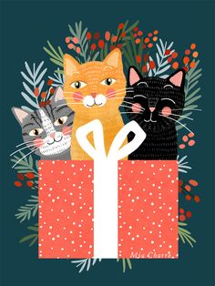 Cats cute christmas xmas tree holiday funny cat art cat lady gift unique pet gifts Mini Art Print by Mia Charro - Without Stand Christmas Cats, Christmas Love, Mery Crismas, Illustrations, Illustration Art, Photo Chat, Unique Animals, Christmas Illustration, Cat Drawing