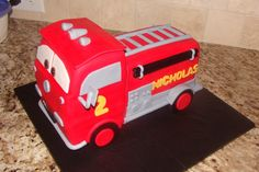 """red"" Fire Truck  on Cake Central"
