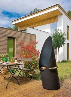 barbecue et cheminée moderne d'extérieur