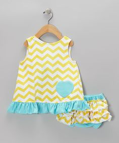 Take a look at this Yellow & Aqua Swing Tunic & Diaper Cover - Infant by Diva Daze on #zulily today!