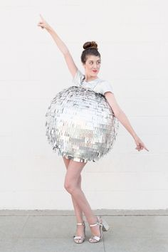Super Fun DIY Disco Costume By Studio DIY:  http://www.stylemepretty.com/living/2015/10/15/boo-studio-diys-best-cutest-halloween-costumes/ | Photography: Jeff Mindell - http://jeffmindellphotography.com/