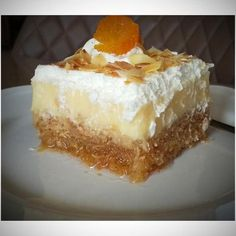 Greek Sweets, Greek Desserts, Greek Recipes, Ekmek Kataifi Recipe, Greek Cake, Ice Cream At Home, Cheesecake, Dessert Recipes, Food And Drink