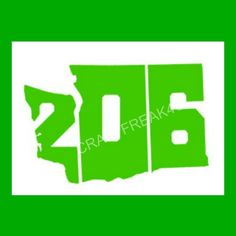 206 Washington State Area Code Car Window Decal by CRAFTFREAK4U