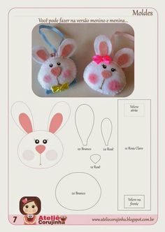 Chaveiro coelho Felt Crafts, Easter Crafts, Diy And Crafts, Felt Patterns, Stuffed Toys Patterns, Felt Bunny, Easter Bunny, Diy Ostern, Felt Decorations
